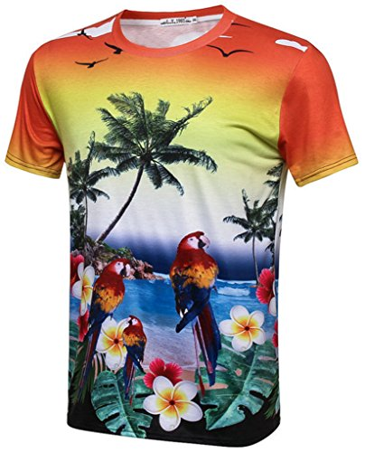 Pretty321 Men Women 3D Palm Tree Coconut Print Fashion Casual T-Shirt Collection Floral Flower with Birds