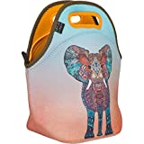 "Neoprene Lunch Bag by ART OF LUNCH - Large [12"" x 12"" x 6.5""] Gourmet Insulated Lunch Tote - A Partnership with Artists Around the World - Design by Monika Strigel (Germany) - Elephant"