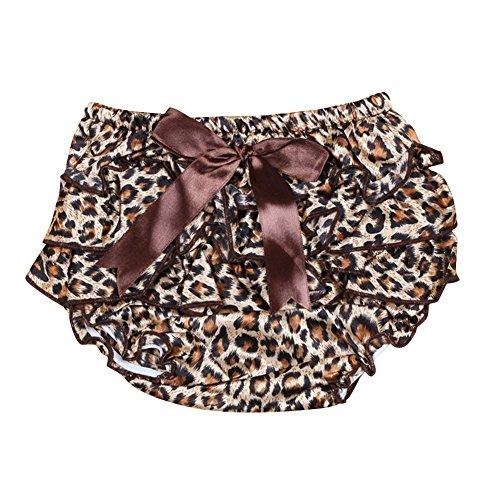 ZongSen Baby Ragazza Satinato Arricciato Diaper Covers Bloomers Fiore Stampare Shorts Bambino Pantaloni Gonne Marrone Leopard S