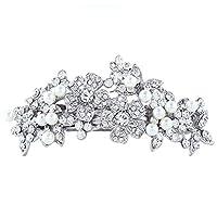 EVER FAITHŽ Austrian Crystal Simulated Pearl Flower Hair Barrette Clear N00617-1