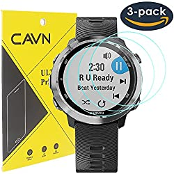 CAVN 3pcs Garmin Forerunner 645 Protector de Pantalla de Vidrio Templado Protectores de Pantalla Para Garmin Forerunner 645 Música [2,5 d Bordes Redondeados] [9h Dureza] [No-Bubble]