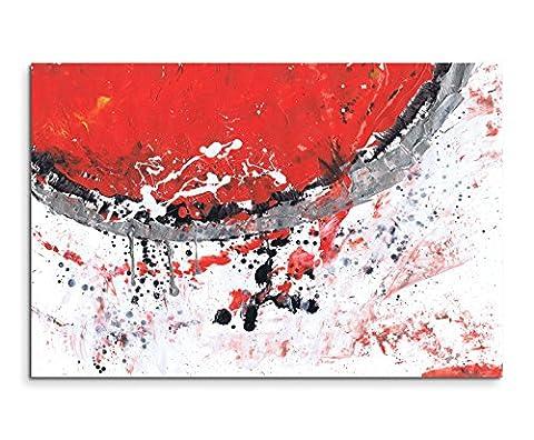 120x80cm Leinwandbild Leinwanddruck Kunstdruck Wandbild rot grau weiß schwarz Halbkreis Punkte