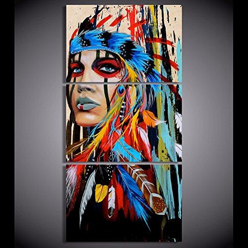 Moderno HD lienzo 3piezas Lienzo Art American Indian Impreso plumas de pintura de pared imágenes para sala de estar, 40cmx60cmx3, no marco