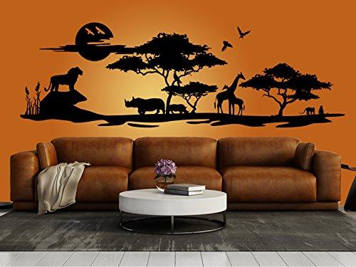 """Schönes Wandtattoo Afrika Savanne 2\"""" in der Farbe Schwarz und der Größe 150 x 48cm für Wohnzimmer Esszimmer Schlafzimmer Wandaufkleber Wandsticker Aufkleber"""