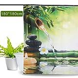 Aitsite Impermeabile e Muffa Resistente Tenda da Doccia Fiore di bambù e Uccello Fenicottero Stampato in Digitale con Disegno Elegante Tenda da Bagno Accessori da Bagno 180 cm x 180 cm (bambù Verde)