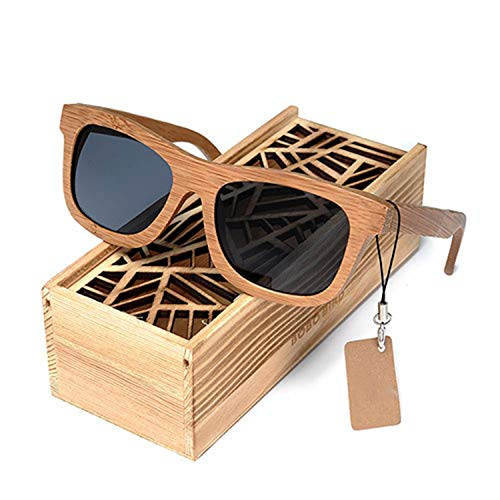 AOCCK Sonnenbrillen,Brillen,BOBO Square Men Sunglasses Polarized UV Protection Eyewear Women Bamboo Sun Glasses Lunettes Femmes Solaire BG003Grey