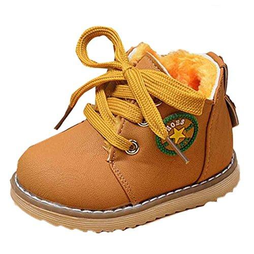Chaussures Bébé Clode® Hiver Bébés garçons filles Armée Enfant Style de Martin Bottes chaussures chaudes (4-5Age, Kaki) Jaune