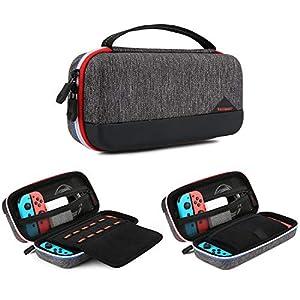 BAGSMART Tasche für Nintendo Switch, Schutztasche Hartschalen Case Reise mit 10 Spielefächern für Joy-Cons Zubehör, Schwarz
