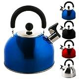 KROLLMANN 2,5 Liter Edelstahl Flötenkessel in verschiedenen Farben Teekessel Wasserkocher Pfeifkessel (Blau)