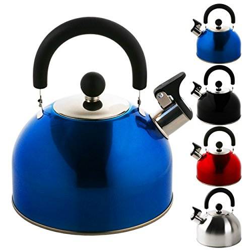 Hervidor de silbato en distintos colores, marca Krollmann, 2,5 litros, acero inoxidable, hervidor de té, hervidor de agua, hervidor de agua de silbato, acero inoxidable, azul, 2,5 Litros