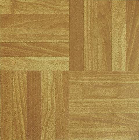 NEW 50 VINYL FLOORING TILES Light Plain Wooden Floor Effect SELF-ADHESIVE HOME SHOP KITCHEN BATHROOM DIY