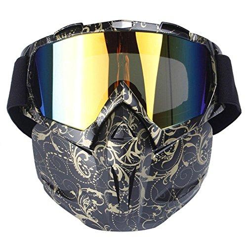 KOBWA Motocross Schutzbrille Maske, Open Face Winddichte Gesicht Maske Schutzbrillen für Motocross Ski Snowboard Outdoor Sportarten