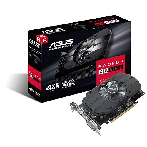 Asus PH-RX550-4G-M7 AMD Radeon Grafikkarte (AMD Radeon RX550, PCIe, 4GB GDDR5 Speicher, DVI, HDMI, DisplayPort) (550 Asus)
