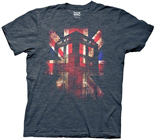 Union Heather T-shirt (RABIT Schnitt Design Doctor Who Tardis Union Jack Glow Erwachsene T-Shirt Gr. S, bSoft Navy Heather)