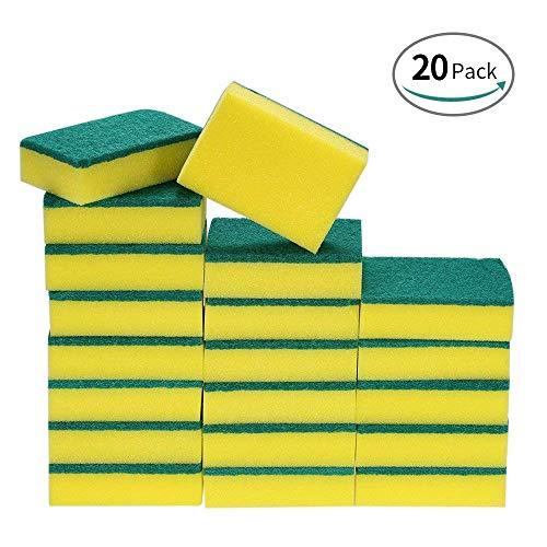 20pz pulizia spugne pulizia spazzola, multi-purpose spugne abrasive a doppia faccia, spugna lavaggio per cucina (rettangolo)