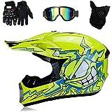 Orange S - Casque de Moto de Bicyclette ATV ECE 22-05 Approbation 49-50cm Leopard LEO-X17 Casques Motocross /& Gants denfants /& Lunettes pour Enfants