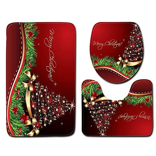 (Mitlfuny Halloween Weihnachten,3 StüCk Toiletten-Abdeckung Set Bad WC Set Sitzbezug (Bad Teppich + Pedestal Teppich + Toilettensitzabdeckung))