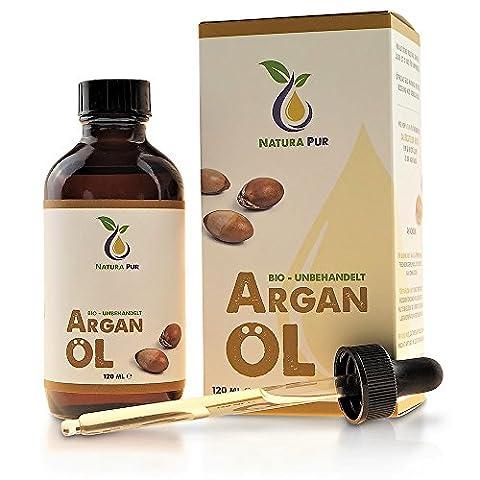 Reines Bio Arganöl 120ml, ohne Silikon - 100% nativ, kaltgepresst, vegan - für kraftvolle Haare, zarte Haut, junges Gesicht und starke Nägel - aus Marokko in Lichtschutzflasche mit Pipette
