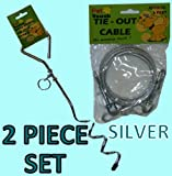 SILVER DOG ANIMAL PET GARDEN TIE OUT CABLE GROUND SPIRAL SCREW STAKE STRONG WIRE LEAD