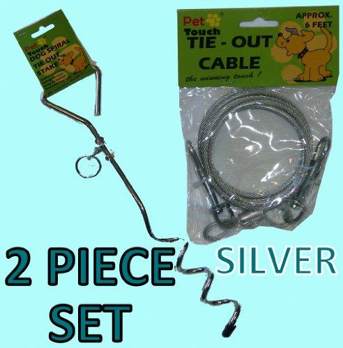 Direct-out-kabel (SILVER DOG ANIMAL PET Garden Tie Out Kabel-Boden Spirale Schraube stabile Kabelleine,)