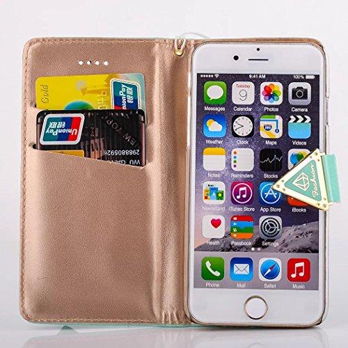 Für iPhone 6 6s Flip Case Cover, Vandot Luxus Leder Bling Hülle für iPhone 6 6s Schutzhülle mit Kartenfächern Diamant Shining Handy Schale Tasche Bumper + 1X Micro USB Kabel + 1X Anti Staub Stöpsel -  Grün