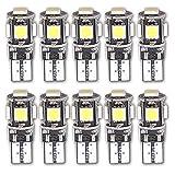 Grandview 10pcs Weiß T10 501 194 168 2825 CANBUS mit 5-5050-SMD Ersatz Für Auto Innenleuchten, Armaturenbrett Lichter, Seitenlicht Lampen, Nummernschild Glühbirnen, Boot Glühbirnen (DC 12 V)
