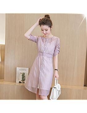 Niña vestidos de verano en Corea larga falda elegante mujer video,L,thin caqui