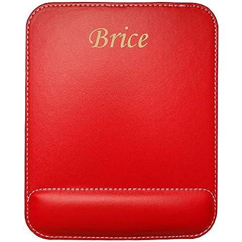 Almohadilla de cuero sintético de ratón personalizado con el texto: Brice (nombre de pila/apellido/apodo)