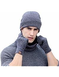 cae466d9ee3ac 3Pc Invierno Gorro de Punto Suave Bufanda Pantalla Guantes Conjuntos Para  Hombre o Mujer - OXOK
