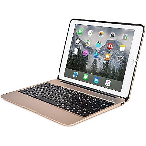 Funda Cooper Cases (TM) Kai Skel con bisagra y teclado para Apple iPad Air 2 / Pro 9.7 en Oro (Diseño tipo MacBook, teclado QWERTY inglés americano incorporado, conexión Bluetooth, batería externa, reposo/ activación automático)
