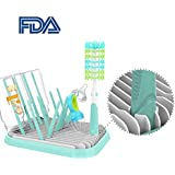Jisen Baby Bottle Drying Rack With Bottle Cleaning Brush Set Countertop Drying Holder Dish Dryer For Toddler Infants- BPA-Free Collapsible