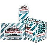 Fisherman's Friend Spearmint | Karton mit 24 Beuteln | Menthol und Spearmint Geschmack | Zuckerfrei für frischen Atem