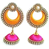 Manali Creations Plastic Molds, Silk Threads, Ball Chain, Pearl Chain & Half Beads No Metal and Diamond Chand Bali Earrings f