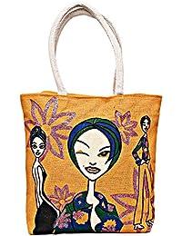 Maitri Jute Tote Bag | Handbag | Shoulder Bag | Cartoon Orange Round Shape Multi-Coloured Shoulder Bag