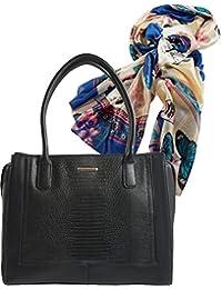 dee6f7efb1753e Damen- Henkel- Tasche, Geräumige Handtasche in Krokodilleder-Optik,  Geschenk- Set zusammen mit Halstuch, Schal in Seidenoptik,…