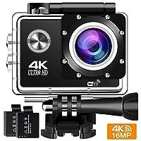 Cámara de acción 4K 16MP Sports Cam - BUIEJDOG HD WiFi Videocámara a prueba de agua con lente gran angular de 170 ° 2 baterías recargables y 18 kits de accesorios de montaje