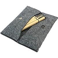 cosanter estuche bolsa plegada clásica sólida cartera bolso de fieltro para las niñas Mujeres Hombres Estudiantes, color gris oscuro 20X8.5 CM