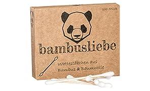 ✮ bambusliebe ✮ 6er Pack Bambus Wattestäbchen ♻ für Kinder & Erwachsene ♻ Bambusstäbchen & flauschige Baumwolle ♻ Nachhaltig ✅ Vegan ✅ Kompostierbar ✅ (6)