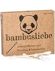 ✮ bambusliebe ✮ Bambus Wattestäbchen ♻ für Kinder & Erwachsene ♻ Bambusstäbchen & flauschige Baumwolle ♻ Nachhaltig ✅ Vegan ✅ Kompostierbar ✅