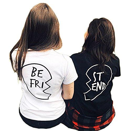 *Best Friends T Shirt Damen mit Aufdruck Schwarz Grunge Elegant Cool Tops Kurzarm Bluse (S, Schwarz B)*