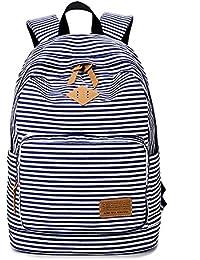 Moda lindo rayas Casual lona portátil bolso escolar mochila ligera mochilas para niñas…