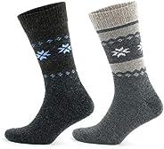 GoWith 2'li Kar Desenli Renkli Alpaka Yünlü Kışlık Ön Yıkamalı Erkek Çorabı