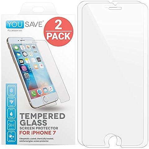 Yousave Accessories iPhone 7 2 Pacchetto Pellicola Protettiva Trasparente In Vetro Temperato [Ultra Sottile 0,3 mm/ Indice Di Resistenza 9H] - Doppio Pacco