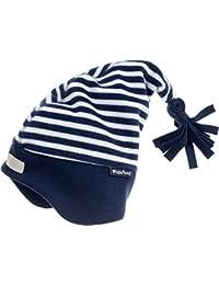 Playshoes Baby-Jungen Mütze Warme Kinder Fleece-Zipfelmütze Maritim Blau (Marine/Weiß 171), 49