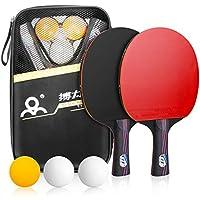 Powcan Sets de Ping Pong, 2 Raquetas de Ping Pong + 3 Pelotas + 1 Bolsa, Profesionales Palas Ping Pong, Cómodo Mango   Esponja de Alta Elasticidad   Goma de Doble Cara