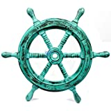 Nautical Handcrafted Wooden Ship Wheel - Home Wall Decor - Nagina International (18 Inches, Antique Green)
