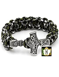 Hagalaz Rune - Military Paracord Bracelet Green Camouflage Outdoor Viking Viking Thor's Hammer Antique Silver Coloured 100% Handmade 25 cm Size No. 6