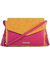 Veuza Merry Premium Jacquard And Faux Leather Fuschia Sling Bag