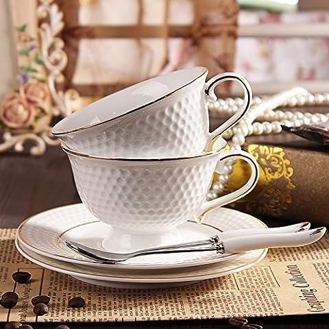 MSRRY Stile Golf-European bone china tazza da caffè con il cucchiaio e forchetta caffè in ceramica kit coppa , Bianco