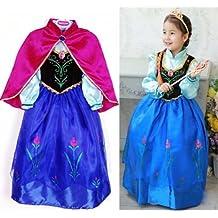 Disfraz ELSA ANNA FROZEN con VARITA Y CORONA (Talla 110 (3-4 años))